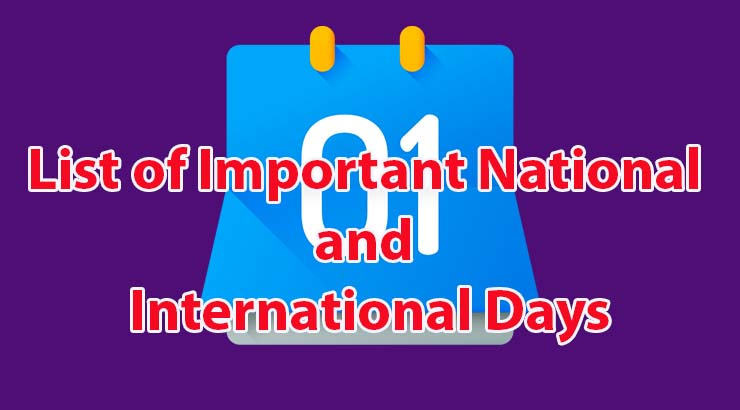 List of Important National and International Days