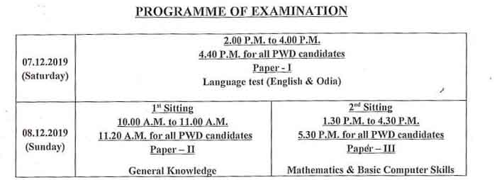 exam sechdule of opsc Junior Assistant Exam