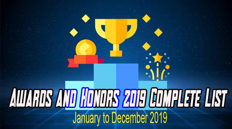 Awards and Honors 2019 Complete List